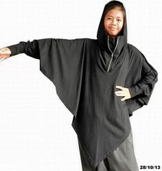 Hooded Batwing - Tunic Top Long Sleeved Cape, Poncho, Cotton Blend In Black Color.