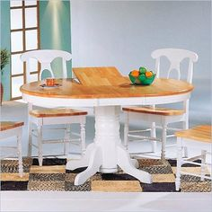 Coaster Damen Oval Pedestal Table with Leaf in Natural and White - 4254