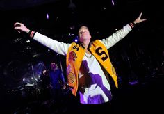 Nothing can hold him. Macklemore of Macklemore & Ryan Lewis flies high on the opening night of the GRAMMY-winning duo's residency at Surrender nightclub at Wynn Las Vegas on May 25