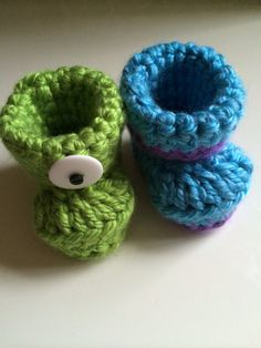 Monsters Inc Decorative Crochet Baby Booties by ClassEStitches, $17.00  etsy, etsy shop, crochet, knit, baby booties, nursery inspo, home décor, baby room, Disney, monsters inc, mike and sully, lime green, blue, purple, characters, pregnant, baby bump, expecting
