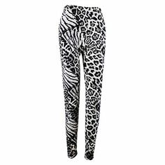 Snow Leopard Print Leggings Black and White $9.99 Leopard Print Leggings, Black Leggings, Snow Leopard, Pajama Pants, Sweatpants, Black And White, Spring, Fashion, Moda