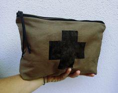 Pochette di Tela con Stampa Croce-Borsello in Canvas Unisex-Porta iPad-Pochette…