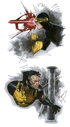 Cyclops and Wolverine by Travis Charest. If I had three wishes, one of them would be to be able to draw like Charest.