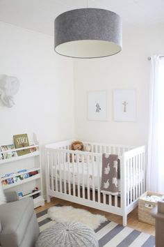 gray nursery with zoo animal accents.