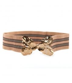 STRIPED ELASTICATED BELT WITH BUTTERFLY HOOK