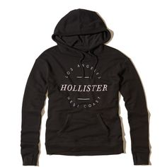 Hollister Logo Graphic Hoodie ($40) ❤ liked on Polyvore featuring tops, hoodies, black, embroidered hoodie, fleece tops, fleece hoodie, hollister co hoodies and hooded sweatshirt