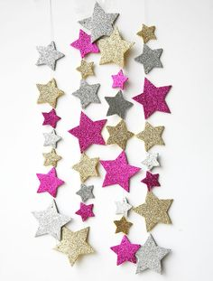Pink gold silver star garland, Twinkle Twinkle Little Star decor, star birthday decor, Glitter garland,Party decoration, Glitter baby shower on Etsy, $18.00