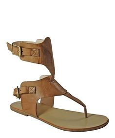 Chocolate Shaft Strap Leather Sandal #zulily #zulilyfinds