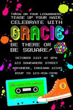 S Retro Personalized Custom Birthday Party Invitations - 90s birthday invitation templates
