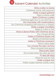Advent Calendar Activity Ideas - These are actually easy and cheap! Put these and others on wooden coins in a Christmas grab bag for activities with grandkids.