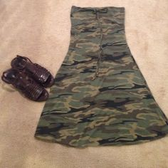 Camouflage strapless dress Could be used as coverall over a bathing suit or as is with cute sandals. Sandals shown also available for sale! Mossimo Supply Co Dresses Strapless