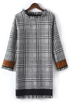 Houndstooth Color Block Round Collar Long Sleeves Dress