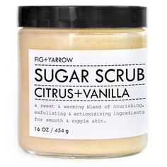 Citrus & Vanilla Sugar Scrub design by Fig and Yarrow ($44) ❤ liked on Polyvore featuring beauty products, bath & body products and body cleansers