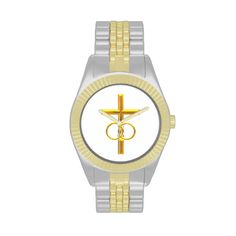 Golden 3-D Cross with #Wedding #Rings #Wristwatch....#crosses #Christian #Catholic #WeddingRings #forsale #Zazzle #Artists4God #religious #religion #golden