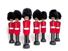 Wooden Toy Soldier Peg Doll - Hand Painted Wood Clothespin Handmade, London Queen's Guards + moustache,  Desk Accessory