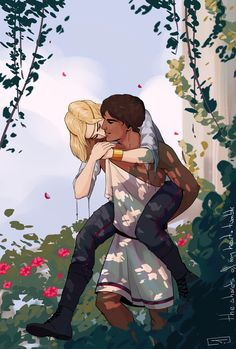 "theshardsofmyheart: ""One of the prizes for the giveaway I recently hosted! The sweet asked for Damen carrying Laurent on his back and I thought that was the perfect excuse for soft neck kisses… Fanart, Illustrations, Illustration Art, Character Inspiration, Character Art, Achilles And Patroclus, Captive Prince, Greek Gods, Cute Gay"