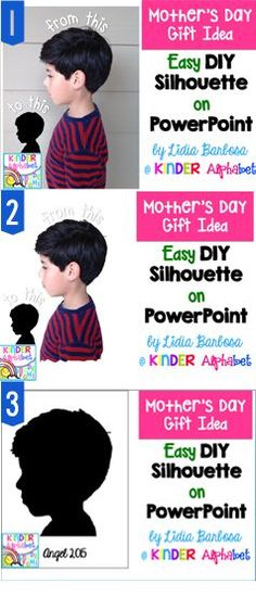 Kinder Alphabet: Easy DIY Silhouette on PowerPoint- for Mother's Day Diy Mother's Day Crafts, Mother's Day Diy, Spring Crafts, Preschool Crafts, Preschool Ideas, April Preschool, Kindergarten Crafts, Kindergarten Classroom, Mothers Day Crafts For Kids