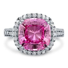 Halo Ring with Pink Cushion Cut Cubic Zirconia in Sterling Silver   Berricle Jewelry