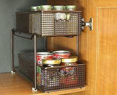 Under Sink Drawer Basket Organizer Cabinet Storage Kitchen Bathroom Bin Counter