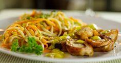 Confira pratos do Restaurant Week em São Paulo - Fotos - Guia UOL  Medalhão de frango com legumes e linguine
