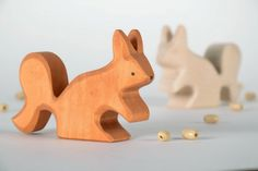 Little wooden figurine Squirrel by EcoFriendlyWoodenToy on Etsy