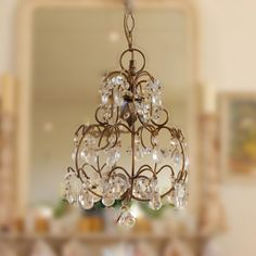 Pretty little French chandelier.would be good for a powder room by TinkerTigerGirl Pretty little F French Chandelier, Chandelier Lighting, Closet Chandelier, Shabby Chic Chandelier, Crystal Chandeliers, Candle Chandelier, Vintage Chandelier, Paper Mulberry, My French Country Home