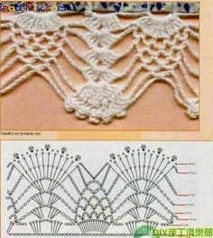 Check out the diagrams and learn to make more than 150 points, (crochet edgings) with images. There are several crochet borders that can be applied in various crochet projects. Choose your favorites… Crochet Border Patterns, Crochet Lace Edging, Crochet Motifs, Crochet Diagram, Crochet Chart, Thread Crochet, Crochet Trim, Love Crochet, Crochet Designs
