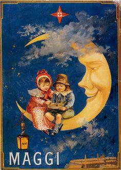 Vintage Illustration Maggi Chicken Soup Children Sitting On Crescent Moon French Vintage Poster Repro - Old Posters, Vintage Posters, Art Vintage, Vintage Cards, French Vintage, Retro Advertising, Vintage Advertisements, Vintage Pictures, Vintage Images