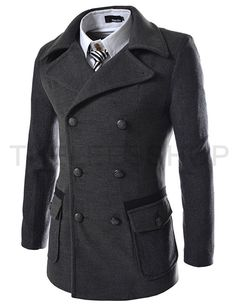 Slim Double Breasted 2 Tone Wool Coat
