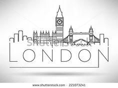 London City Skyline Modern Typographic Design