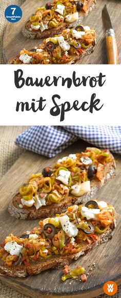 Bauernbrot mit Speck Hearty farmer's bread with bacon, 7 SmartPoints / Portion, made easy, in 45 min. Gourmet Sandwiches, Sandwich Recipes, Plats Weight Watchers, Weight Watchers Meals, Bacon Recipes, Grilling Recipes, Scones Ingredients, Eat Smart, Tzatziki