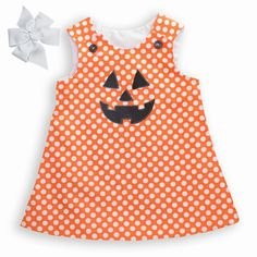 Great for the pumpkin picking at the patch!  Lolly Wolly Doodle Orange Dot A-line Dress $29.  Made to Order!