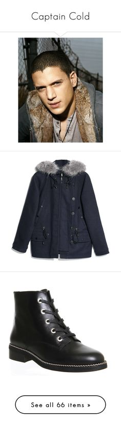 """""""Captain Cold"""" by happy-fashionx ❤ liked on Polyvore featuring outerwear, coats, jackets, coats & jackets, mango coat, hooded parka coat, hooded parka, wool blend coat, faux coat and shoes"""