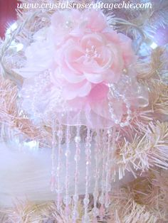 Victorian Rose Pink Ruffle Pink Beaded Fringe Ornament http://www.crystalsrosecottagechic.com/item_313/Pink-Rose-Ruffle-Victorian-Ornament.htm