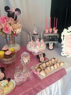 Pink Minnie Mouse party treats! See more party ideas at CatchMyParty.com!