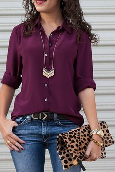 LOVE THIS WHOLE OUTFIT! Especially the color of the shirt! Burgundy, leopard, and chevron