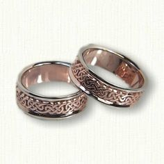 14kt Rose Gold with 14kt White Gold Rails Celtic Lindesfarne Knot Wedding Bands - Available In All Metals and Sizes