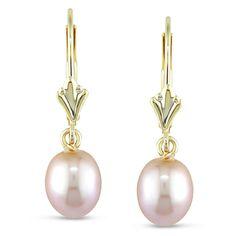 pearl earrings dangle | Pearlyta Sterling Silver FW Pearl and CZ Leaf Earrings (11-12 mm)