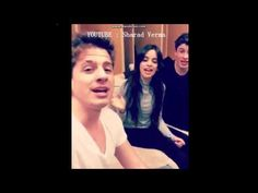 "Charlie Puth , Shawn Mendes and Camila Cabello singing ""Sorry"" by Justin..."