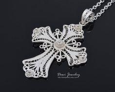 925 Sterling Silver Filigree Cross Pendant Silver by DewiJewelry