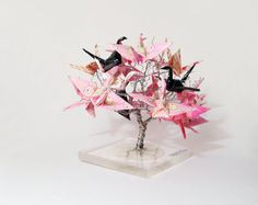Origami crane tree wire tree origami decor by WireMyTree on Etsy