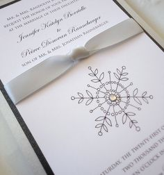 sparkling wedding invitations | SAMPLE Sparkling Snowflake Wedding Invitation by NooneyArt