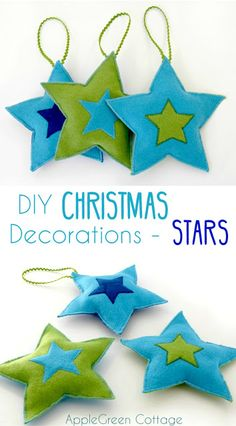 DIY Christmas Decorations - Felt Stars Free Pattern by AppleGreen Cottage. Add a cozy look to your Christmas tree with a set of your own, DIY Christmas star ornaments. by melody Diy Christmas Star, Felt Christmas, Holiday Crafts, Christmas Decorations, Christmas Ornaments, Xmas, Sewing Patterns Free, Free Sewing, Free Pattern