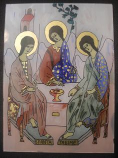 Sf. Treime Religious Images, Orthodox Icons, Glass, Drawing Drawing, Drinkware, Corning Glass