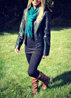 Layer your leather jacket with a sweatshirt or tee for an instant rocker look keep it sweet by adding some skinnys and boots.
