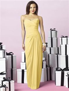 The Dessy Group After Six Bridesmaids Style 6641 in buttercup
