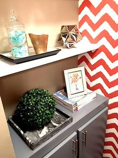 Wall paper and how to decorate a book shelf!  c2Design