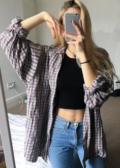 10 Exclusive Summer Outfits To Keep Casual Summer Look – Summer Must Haves Collection. The Best of clothes in Mode Outfits, Grunge Outfits, Fall Outfits, Summer Outfits, Casual Outfits, Fashion Outfits, Flannel Outfits Summer, Oversized Flannel Outfits, Cute Outfits With Flannels