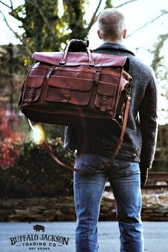 Tough, rugged, leather weekend travel bag in camel. Weekender | Travel | Adventure