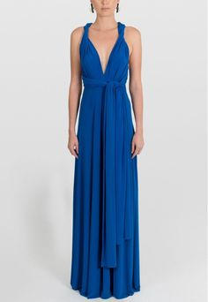PowerLook Aluguel de Vestidos Online- POWERLOOK Vestido Mar longo de malha amarrações Powerlook - azul #mar #vestidolongo #malha #amarraçoes #azul #vestidocasamento #vestidofesta #vestidomadrinha #madrinha #casamentonoite #noite #vestidonoite